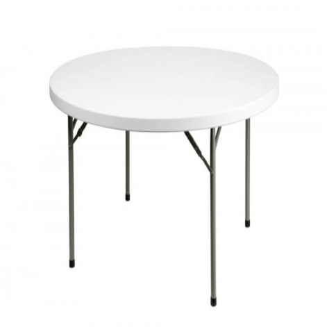 6ft White Plastic Round White Table Hire In Essex